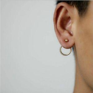 Goldtone Gold Circle Geometric Stud Earrings